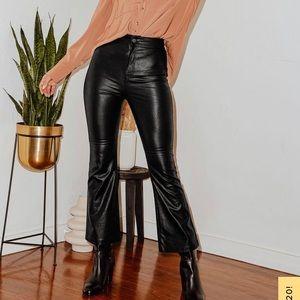 Free People Black Vegan Leather Kick Flare Pants